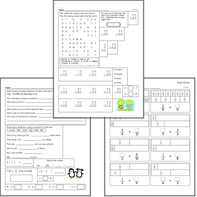 Free L.1.1 Practice Workbook<BR>Multiple pages of practice for L.1.1 skills.<BR>Includes first grade language arts, math, and puzzles.