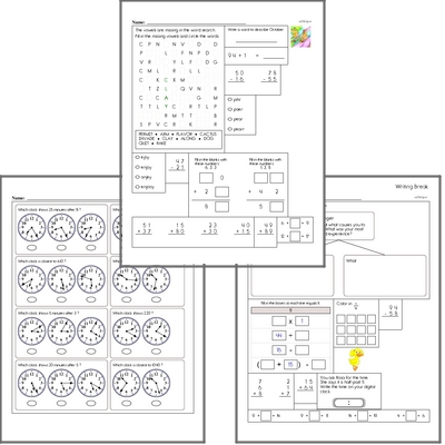 Free L.1.1.B Practice Workbook<BR>Multiple pages of practice for L.1.1.B skills.<BR>Includes first grade language arts, math, and puzzles.