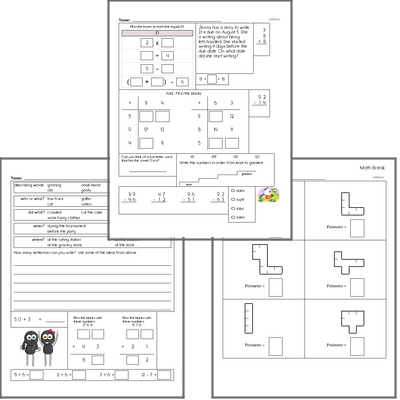 Free L.1.1.C Practice Workbook<BR>Multiple pages of practice for L.1.1.C skills.<BR>Includes first grade language arts, math, and puzzles.