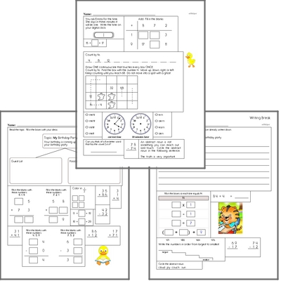 Free L.1.1.E Practice Workbook<BR>Multiple pages of practice for L.1.1.E skills.<BR>Includes first grade language arts, math, and puzzles.