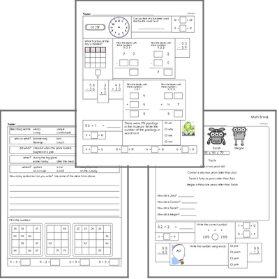 Free L.1.1.F Practice Workbook<BR>Multiple pages of practice for L.1.1.F skills.<BR>Includes first grade language arts, math, and puzzles.