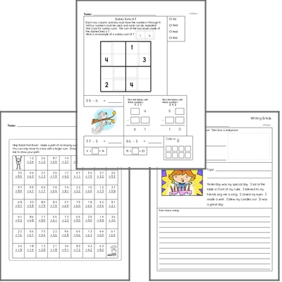 Free L.1.2.D Practice Workbook<BR>Multiple pages of practice for L.1.2.D skills.<BR>Includes first grade language arts, math, and puzzles.