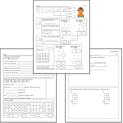 Free L.1.5.A Practice Workbook<BR>Multiple pages of practice for L.1.5.A skills.<BR>Includes first grade language arts, math, and puzzles.