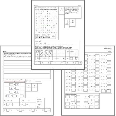 Free L.1.5.C Practice Workbook<BR>Multiple pages of practice for L.1.5.C skills.<BR>Includes first grade language arts, math, and puzzles.