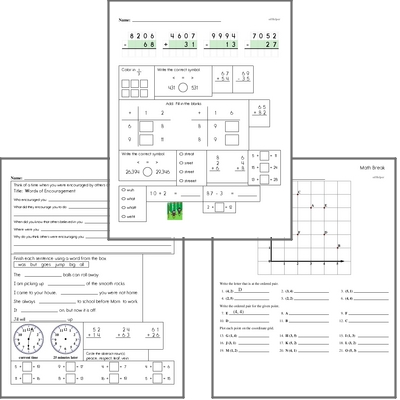 Free L.1.6 Practice Workbook<BR>Multiple pages of practice for L.1.6 skills.<BR>Includes first grade language arts, math, and puzzles.