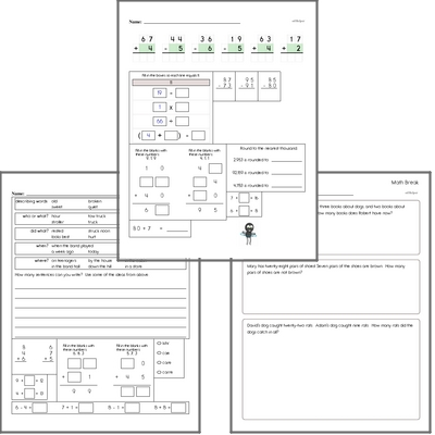 Free L.2.1.A Practice Workbook<BR>Multiple pages of practice for L.2.1.A skills.<BR>Includes second grade language arts, math, and puzzles.