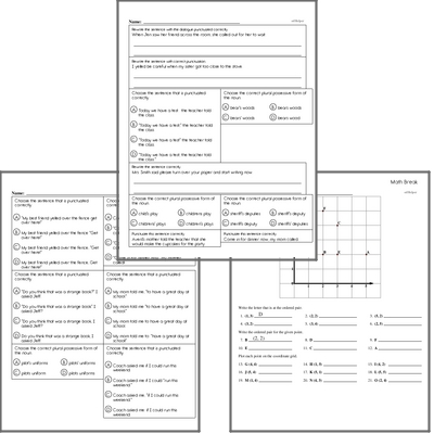 Free L.3.2.C Practice Workbook<BR>Multiple pages of practice for L.3.2.C skills.<BR>Includes third grade language arts, math, and puzzles.