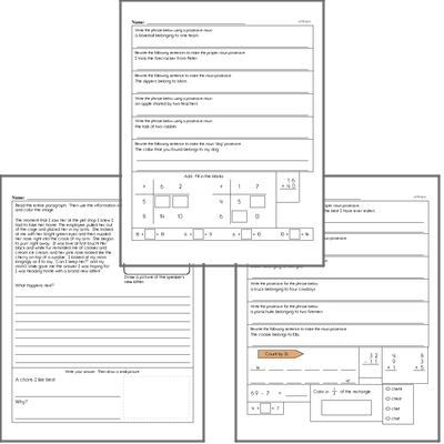 Free L.3.2.D Practice Workbook<BR>Multiple pages of practice for L.3.2.D skills.<BR>Includes third grade language arts, math, and puzzles.