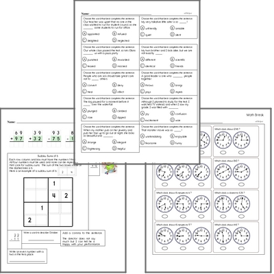 Free L.3.4.A Practice Workbook<BR>Multiple pages of practice for L.3.4.A skills.<BR>Includes third grade language arts, math, and puzzles.