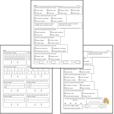 Free L.3.4.C Practice Workbook<BR>Multiple pages of practice for L.3.4.C skills.<BR>Includes third grade language arts, math, and puzzles.