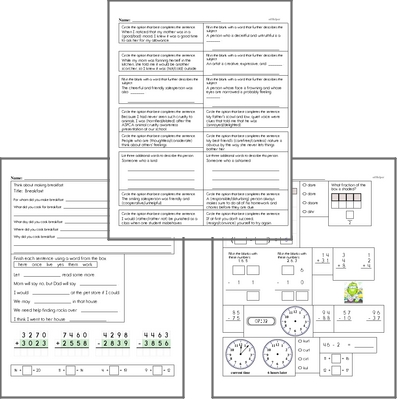 Free L.3.5.B Practice Workbook<BR>Multiple pages of practice for L.3.5.B skills.<BR>Includes third grade language arts, math, and puzzles.