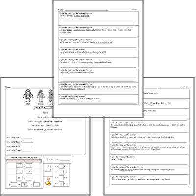 Free L.5.5.A Practice Workbook<BR>Multiple pages of practice for L.5.5.A skills.<BR>Includes fifth grade language arts, math, and puzzles.