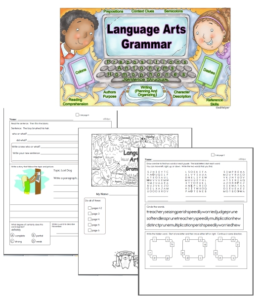 Free Language Arts Mixed Review Worksheets Edhelper Com