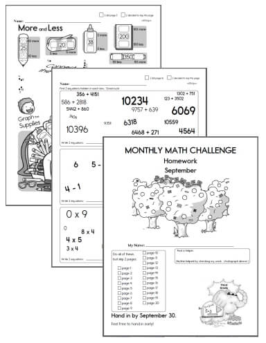 Free Math Challenge Worksheets