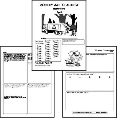 Sixth Grade Math Challenge Workbooks for April | edHelper