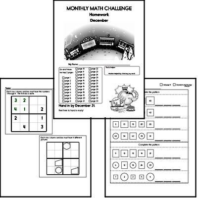 Second Grade Math Challenge Workbooks For December Edhelper