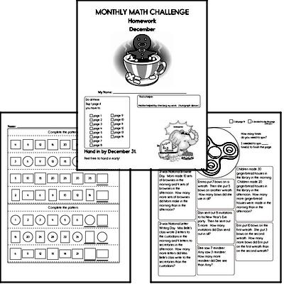 December Gifted Math Challenge Workbook for Kids
