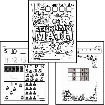 Preschool Warmup Pages, Tracing and Writing, and Math Challenges for February