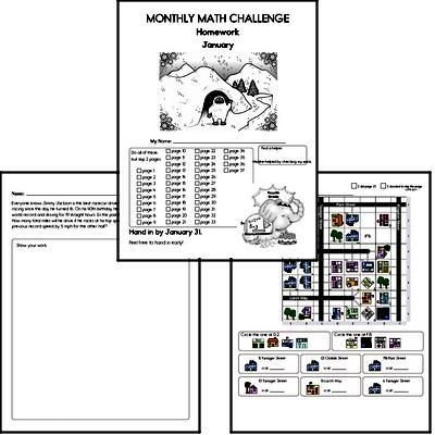 January Gifted Math Challenge Workbook for Kids