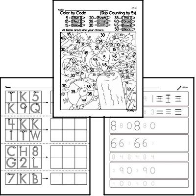 Kindergarten Math Warmup Pages for July