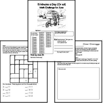 June Gifted Math Challenge Workbook for Kids