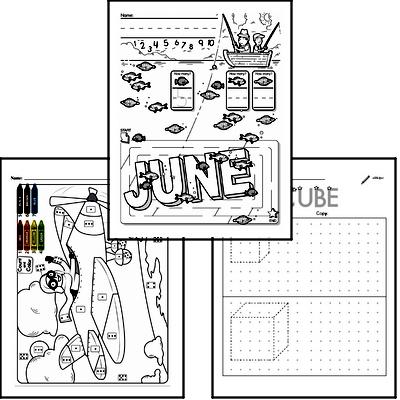 Preschool Warmup Pages, Tracing and Writing, and Math Challenges for June
