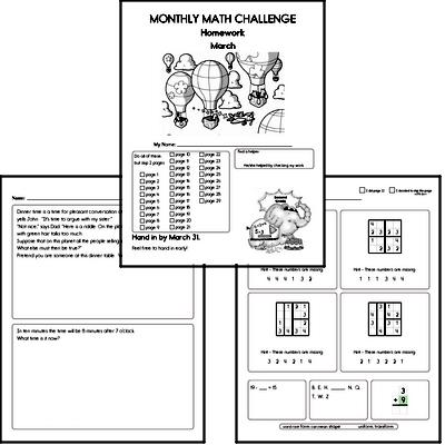 March Gifted Math Challenge Workbook for Kids