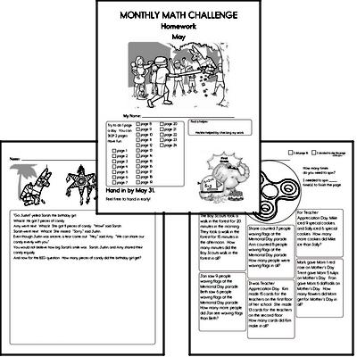 1st grade Monthly Math Challenge Book