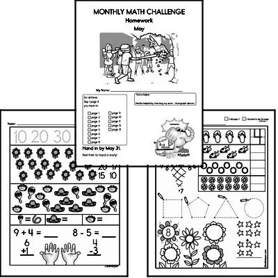 Monthly Math Challenge Book for Kindergarten