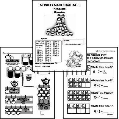 November Gifted Math Challenge Workbook for Kids