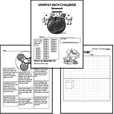 1st grade Monthly Math Challenge Book
