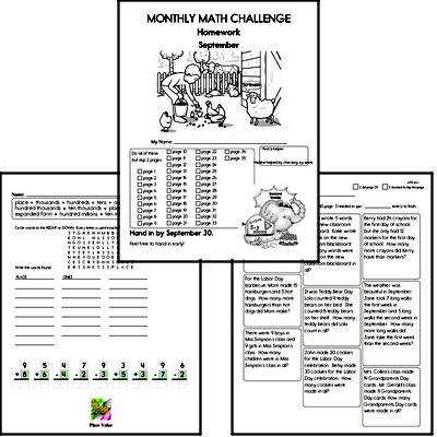September Gifted Math Challenge Workbook for Kids
