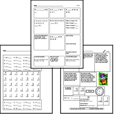 Original 15-minute Math Minute Workbooks for First Graders - Large Book!