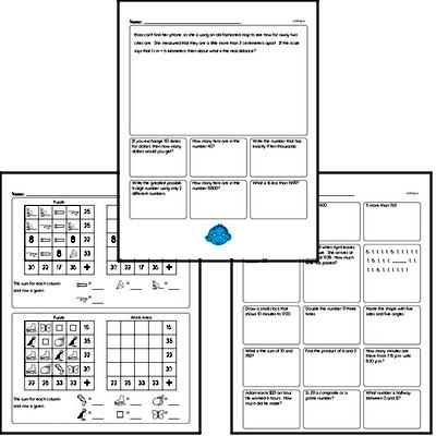 15-Minute Math Minutes Classroom Math Practice Worksheets - Perfect to use in the classroom for morning work, filling 5-15 minute time gaps, or for homework, these NO PREP PDF math review worksheets will win over kids.