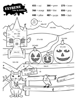 free halloween worksheets  edhelpercom halloween extreme addition