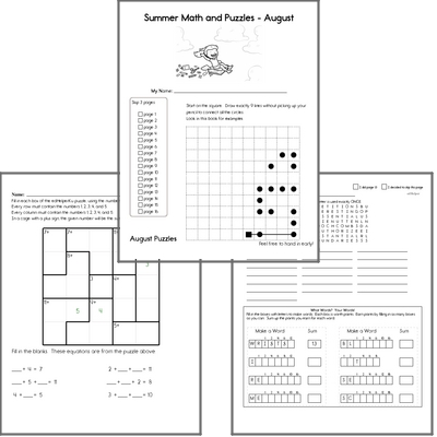 Next Month's Puzzle Workbook - A NO PREP PDF puzzle workbook with math, spelling, language arts, and critical thinking.