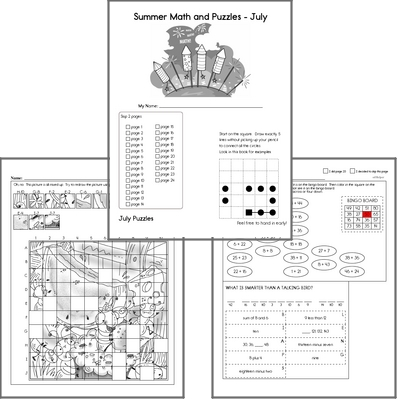 Puzzles for Kids - July Workbook