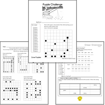 This Month's Puzzle Workbook - A NO PREP PDF puzzle workbook with math, spelling, language arts, and critical thinking.