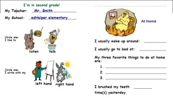 All About Me Worksheets | edHelper.com