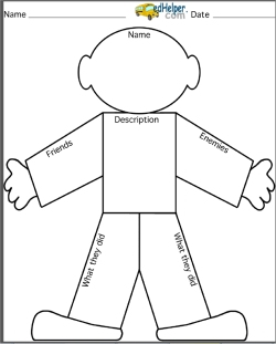 Main Characters and Characters Worksheets | edHelper