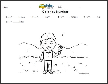 Color by Subtraction - Printables, Worksheets, and Lessons