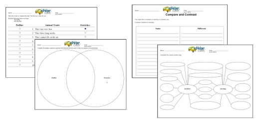 Compare and Contrast Worksheets | edHelper