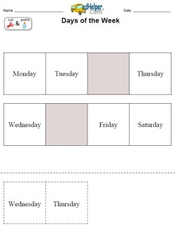 days of the week activities worksheets printables and lesson plans  days in each row   day missing