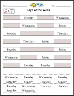 days of the week activities worksheets printables and lesson plans. Black Bedroom Furniture Sets. Home Design Ideas