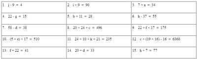 Equation Worksheets