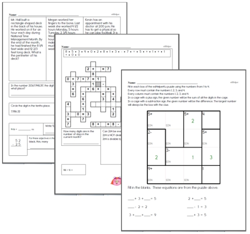 fifth grade math homework review pages