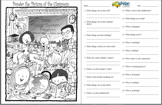 Ponder the Picture Puzzle Worksheets