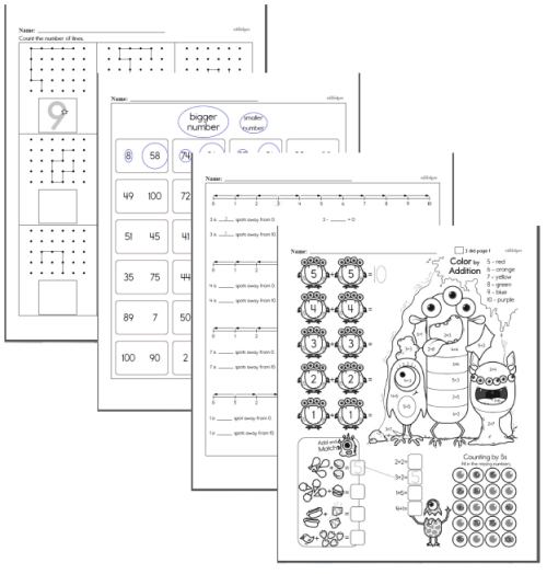 first grade math homework review pages