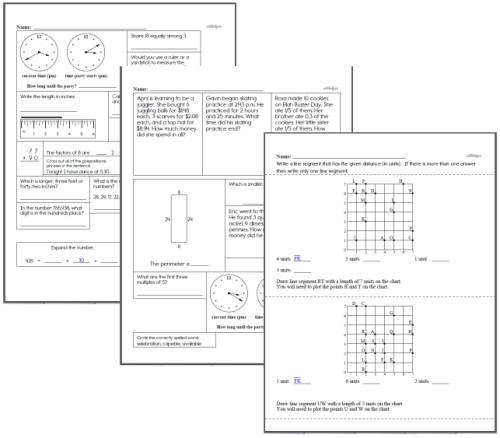 fourth grade math homework review pages