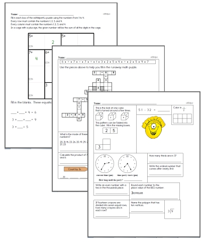 Free Fourth Grade Math Worksheets Edhelper